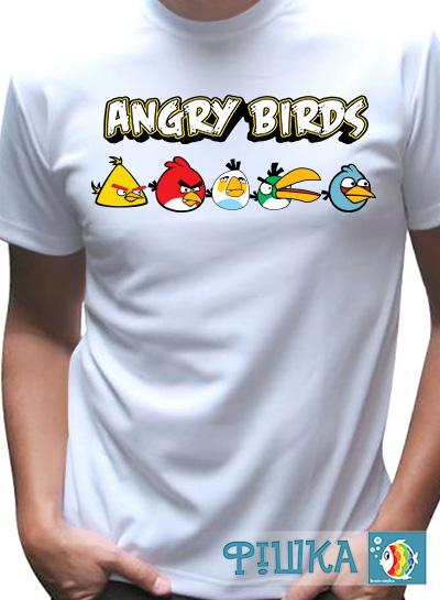"""Футболка мужская с надписью и принтом """"Angry Birds"""""""