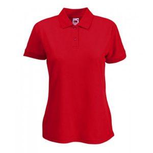 Красный цвет макета передней части женской футболки Поло для печати