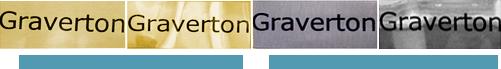 Шильда металическая с надписью на поверхностях Гравертон